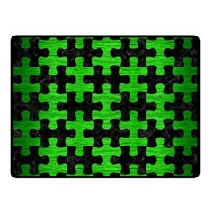 Puzzle1 Black Marble & Green Brushed Metal Fleece Blanket (small)