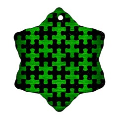Puzzle1 Black Marble & Green Brushed Metal Ornament (snowflake)
