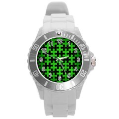 Puzzle1 Black Marble & Green Brushed Metal Round Plastic Sport Watch (l)