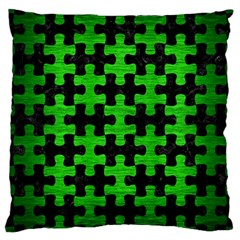Puzzle1 Black Marble & Green Brushed Metal Large Cushion Case (one Side)