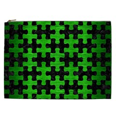 Puzzle1 Black Marble & Green Brushed Metal Cosmetic Bag (xxl)