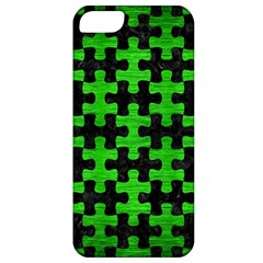 Puzzle1 Black Marble & Green Brushed Metal Apple Iphone 5 Classic Hardshell Case
