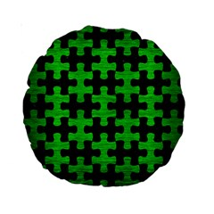 Puzzle1 Black Marble & Green Brushed Metal Standard 15  Premium Round Cushions