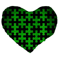 Puzzle1 Black Marble & Green Brushed Metal Large 19  Premium Heart Shape Cushions