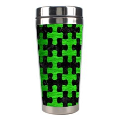Puzzle1 Black Marble & Green Brushed Metal Stainless Steel Travel Tumblers
