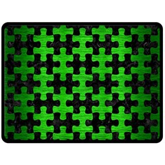 Puzzle1 Black Marble & Green Brushed Metal Double Sided Fleece Blanket (large)