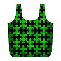 Puzzle1 Black Marble & Green Brushed Metal Full Print Recycle Bags (l)