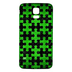 Puzzle1 Black Marble & Green Brushed Metal Samsung Galaxy S5 Back Case (white)