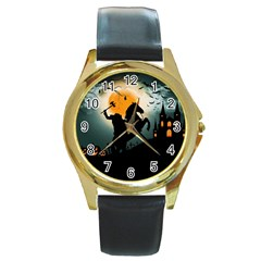 Headless Horseman Round Gold Metal Watch