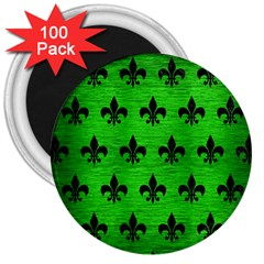 Royal1 Black Marble & Green Brushed Metal 3  Magnets (100 Pack)