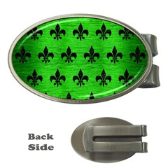 Royal1 Black Marble & Green Brushed Metal Money Clips (oval)
