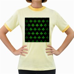 Royal1 Black Marble & Green Brushed Metal (r) Women s Fitted Ringer T Shirts