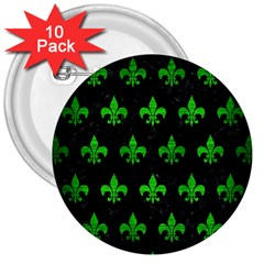 Royal1 Black Marble & Green Brushed Metal (r) 3  Buttons (10 Pack)