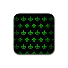 Royal1 Black Marble & Green Brushed Metal (r) Rubber Square Coaster (4 Pack)