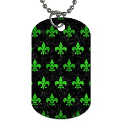 Royal1 Black Marble & Green Brushed Metal (r) Dog Tag (two Sides)