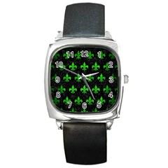 Royal1 Black Marble & Green Brushed Metal (r) Square Metal Watch
