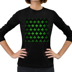 Royal1 Black Marble & Green Brushed Metal (r) Women s Long Sleeve Dark T Shirts