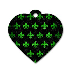 Royal1 Black Marble & Green Brushed Metal (r) Dog Tag Heart (two Sides)