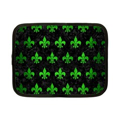 Royal1 Black Marble & Green Brushed Metal (r) Netbook Case (small)