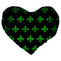 Royal1 Black Marble & Green Brushed Metal (r) Large 19  Premium Flano Heart Shape Cushions