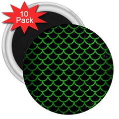 Scales1 Black Marble & Green Brushed Metal 3  Magnets (10 Pack)