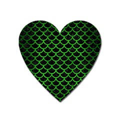 Scales1 Black Marble & Green Brushed Metal Heart Magnet