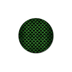 Scales1 Black Marble & Green Brushed Metal Golf Ball Marker