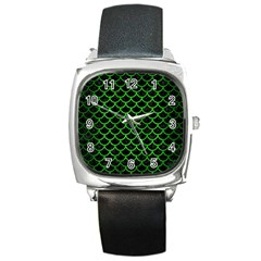 Scales1 Black Marble & Green Brushed Metal Square Metal Watch