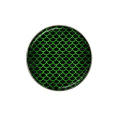 Scales1 Black Marble & Green Brushed Metal Hat Clip Ball Marker (4 Pack)