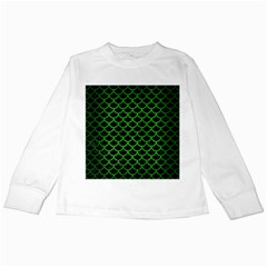 Scales1 Black Marble & Green Brushed Metal Kids Long Sleeve T Shirts
