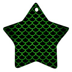 Scales1 Black Marble & Green Brushed Metal Star Ornament (two Sides)