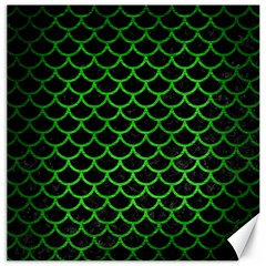 Scales1 Black Marble & Green Brushed Metal Canvas 12  X 12