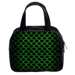 Scales1 Black Marble & Green Brushed Metal Classic Handbags (2 Sides)