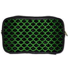 Scales1 Black Marble & Green Brushed Metal Toiletries Bags