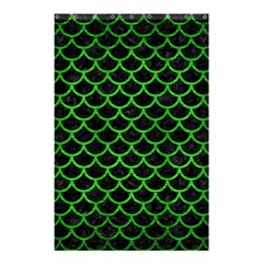 Scales1 Black Marble & Green Brushed Metal Shower Curtain 48  X 72  (small)
