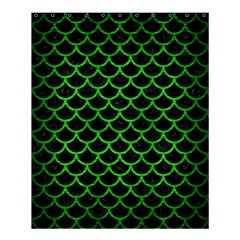 Scales1 Black Marble & Green Brushed Metal Shower Curtain 60  X 72  (medium)