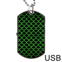 Scales1 Black Marble & Green Brushed Metal Dog Tag Usb Flash (one Side)