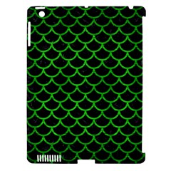 Scales1 Black Marble & Green Brushed Metal Apple Ipad 3/4 Hardshell Case (compatible With Smart Cover)