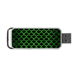 Scales1 Black Marble & Green Brushed Metal Portable Usb Flash (two Sides)