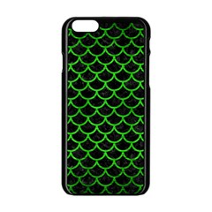 Scales1 Black Marble & Green Brushed Metal Apple Iphone 6/6s Black Enamel Case
