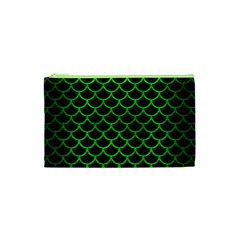 Scales1 Black Marble & Green Brushed Metal Cosmetic Bag (xs)