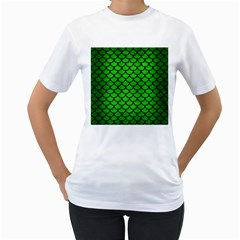 Scales1 Black Marble & Green Brushed Metal (r) Women s T Shirt (white) (two Sided)