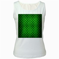 Scales1 Black Marble & Green Brushed Metal (r) Women s White Tank Top