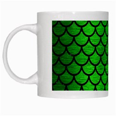 Scales1 Black Marble & Green Brushed Metal (r) White Mugs
