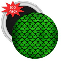 Scales1 Black Marble & Green Brushed Metal (r) 3  Magnets (100 Pack)