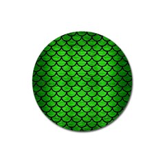 Scales1 Black Marble & Green Brushed Metal (r) Magnet 3  (round)
