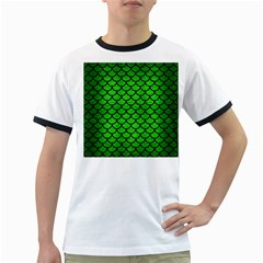 Scales1 Black Marble & Green Brushed Metal (r) Ringer T Shirts