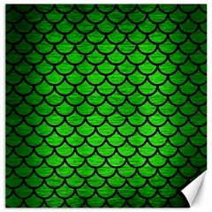 Scales1 Black Marble & Green Brushed Metal (r) Canvas 20  X 20