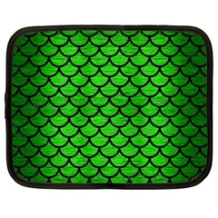 Scales1 Black Marble & Green Brushed Metal (r) Netbook Case (large)