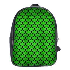 Scales1 Black Marble & Green Brushed Metal (r) School Bag (large)